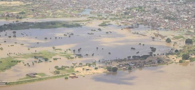 An aerial view of flood caused by River Ganges in Bihar