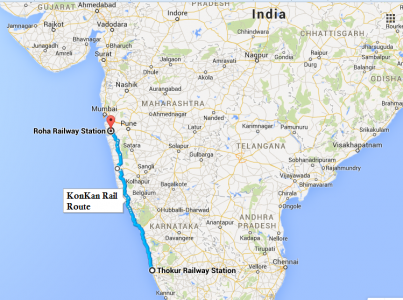 Complete Route of Konkan Railways from source to destination stations