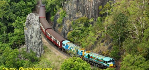 Image of Train passing through Konkan Railway track.