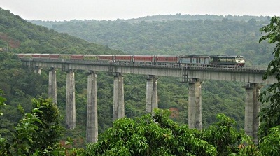 Train Passing through Panvell Viaduct (210 ft.) when construction completed it was third tallest viaduct in Asia.