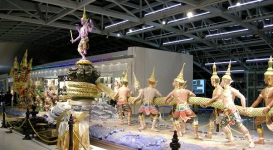 Samudra Manthan, that lead to celebration of Kumbh Mela. Image taken at Bangkok Airport. Image Source: Wikipedia.org