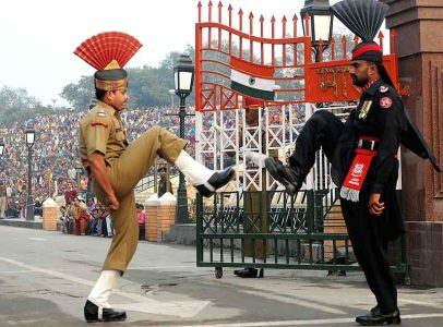 """Beating Retreat ceremony"" at Attari Border, India. source: outlookindia.com"