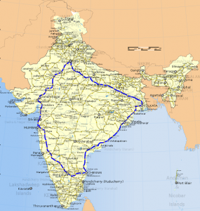 Map of India showing Golden Quadrilateral connectivity.