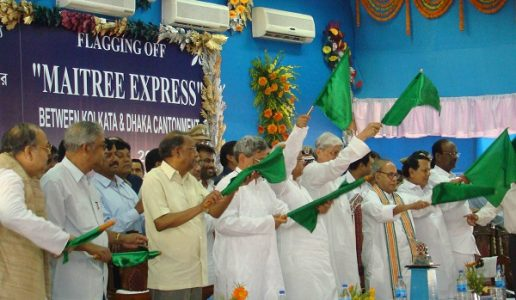 The Union Minister of External Affairs, Shri Pranab Mukherjee flagged off the first international bi-weekly passenger train Maitree Express between Kolkata and Dhaka Cantonment, in Kolkata on April 14, 2008.