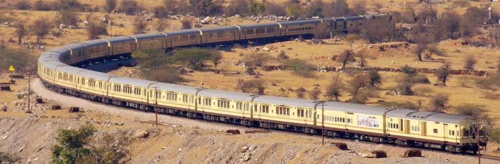 Train travelling through desert region of Rajasthan. At the time of launch it was first Hotel train of India.