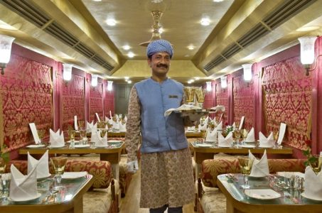 Interior of Royla Rajasthan on Wheels. It has 2 dinning cars which are named as Swarn Mahal and Sheesh Mahal.