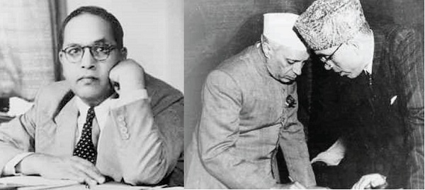Left: Dr. Ambedkar denied drafting a separate constitution for J&K. Right: Nehru and Sheikh signing the article.
