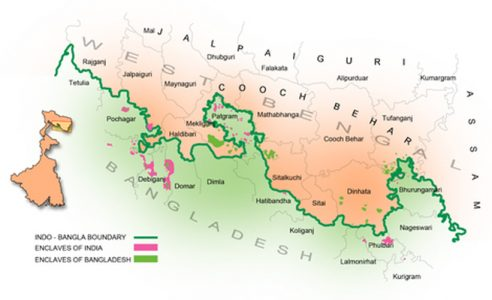 An enclave is a part of the territory of a state that is enclosed within the territory of another state. Currently India-Bangladesh border is the most complex land border in the world.
