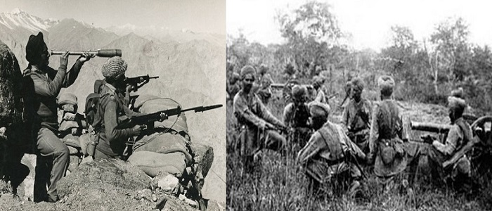 Indian Army in action during the India-Pakistan war of 1948. This war is also referred as First Kashmir War.