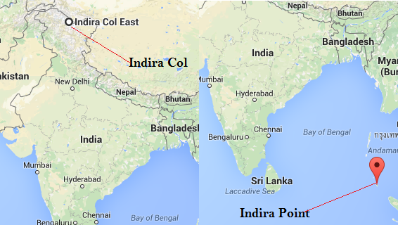 Indira Col & Indira Point are the extreme point of India in North and South.