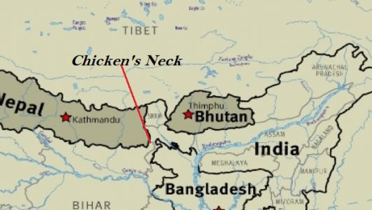 Chicken's Neck (also known as Siliguri Corridor) is only means of connectivity to North-Eastern States of India making it very crucial for India's defense prospective.