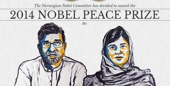 2014 Nobel Peace Prize was shared by Malala Yousafzai of Pakistan and Kailash Satyarthi from India.