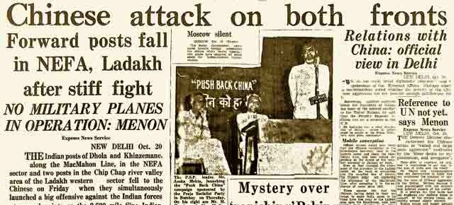 Headlines of Indian Newspaper during the India-China war of 1962.