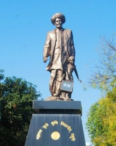Statue of Mahatma Jyotirao Phule. He is most known for his efforts to educate women and the lower castes.