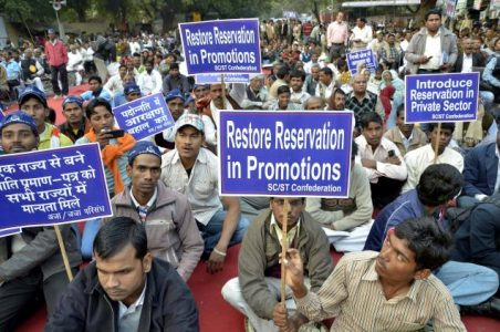 People from SC and ST community protesting for reservation in Promotion