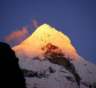 Neelkanth Mountain Peak seen from Badrinath in early morning.