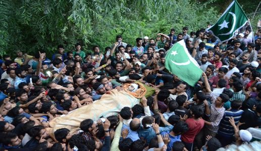 Nearly 50000 kashmiris gathered in the funeral of Hizbul Militant Burhan Wani