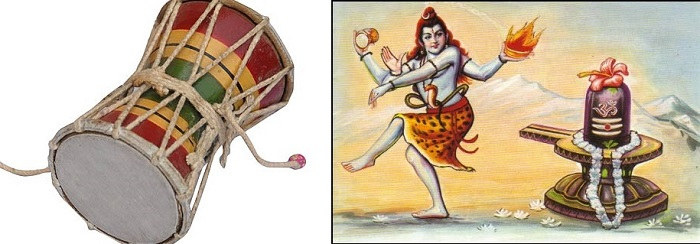Left: Image of Damru. Right: Lord Shiva performing Tandav with Damru in one of his hand