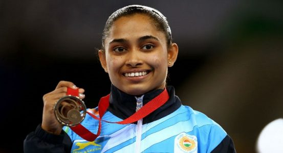 Dipa Karmakar after wining medal in Gymnastics Event. Image Source: tensports.com