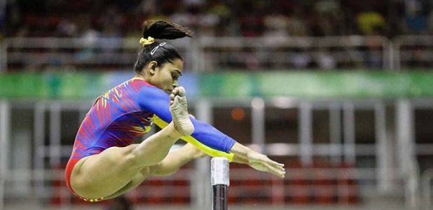 Indian Dipa Karmakar in action during the team classificatory contest at the Artistic Gymnastics Pre-Olympic championships. Image Source: swadesh.unnatisilks.com