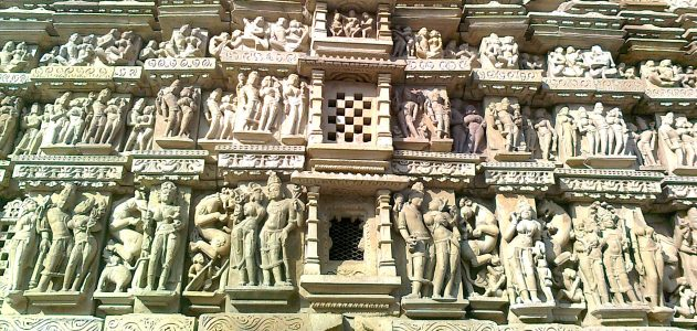 Enlarged Khajuraho temple sculptures image