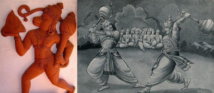 "Left: Image of Lord Hanuman Holding Gada. Right: A scene from Mahabharata War where Bhima and Duryodhana are fighting ""Gada Yuddha"""