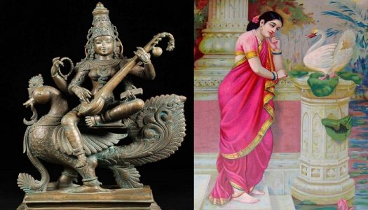 Left: Goddess Saraswati sitting on Swan. Right: Princess Damyanti sending his love message via Swan.