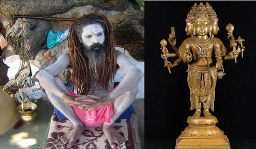 Left: A saint with Kamandal in his hermit. Right: Idol of Lord Bhrama holding Kamandal in one of his hand