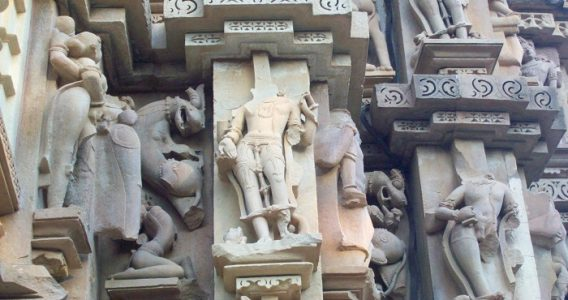 Many Khajuraho sculptures are destroyed