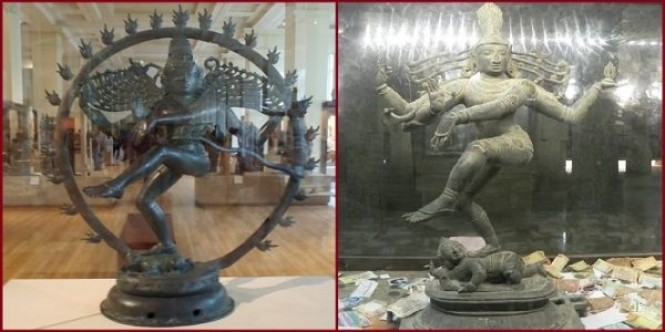 Statue of Nataraja Left in British Museum & Right: In India