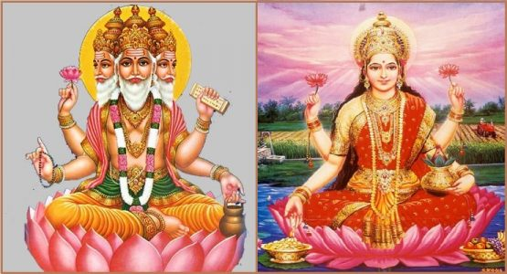 Left: Lord Brahma on Padma. Right: Goddess Lakshmi on Padma.