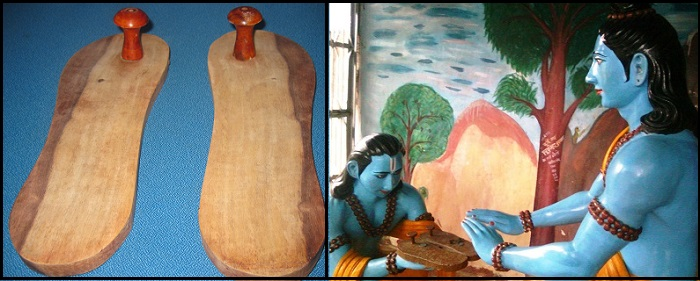 Left: Image of Paduka. Right: Bharat taking Paduka of Lord Sri Rama.