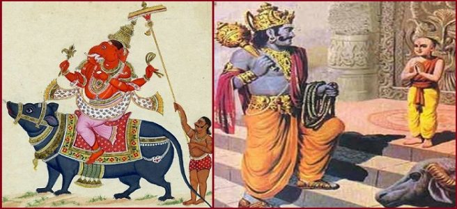 Left: Lord Ganesha with Pasha. Right: Lord Yamaraj with Pasha