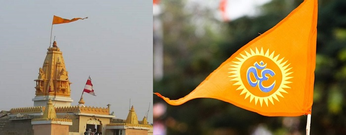 Left: A Saffron Flag can be found on top of Hindu temple. Right: Image of Flag