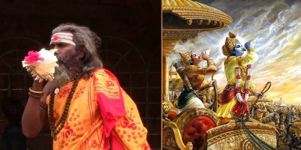 Left: A Hindu Saint blowing Shankha. Right: Lord Krishna blowing Shankha during Mahabharata War