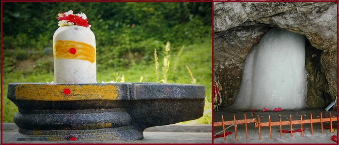 Left: A Shivlingam with tripundra tilak. Right: Amarnath Ice Shivlingam
