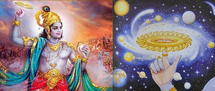 Left: Lord Krishna holding Sudarshan Chakra. Right: Image of Sudarshan Chakra