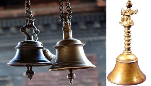 Left: Bell in Hindu temples. Right: Image of bell