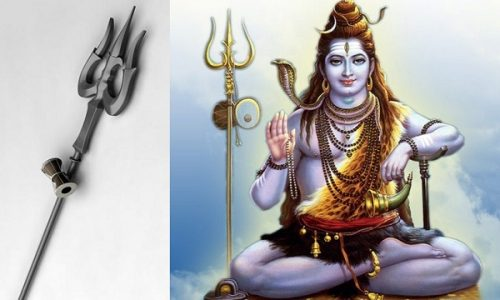 Left: Image of Trishul. Right: Image of Lord Shiva with Trishul