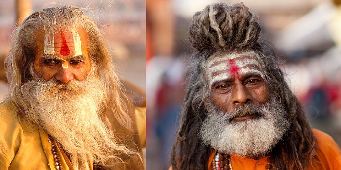 Left: Urdhva Pundra and Right: Tripundra