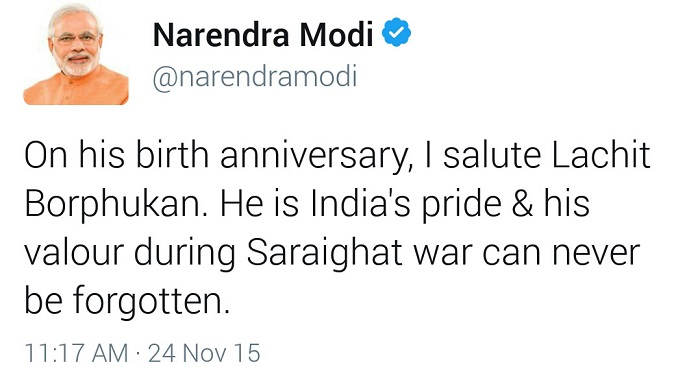 Prime Minister of India Narendra Modi Tweet on Lachit Borphukan