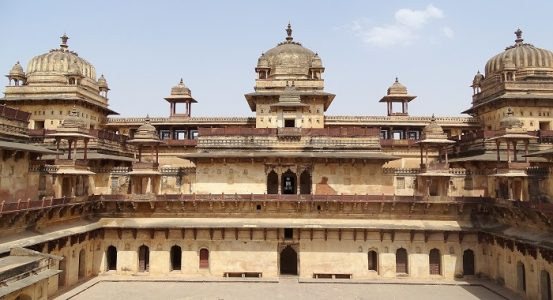 Jahangir Mahal of Orchha. It was built when Mughal king Jahangir first visited the City of Orchha
