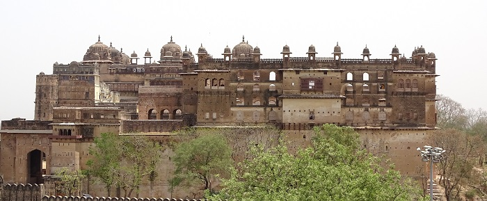 Raja Mahal as Seen from the Chaturbhuj Temple of Orchha. Behind Raja Mahal lies the Jahangir Mahal