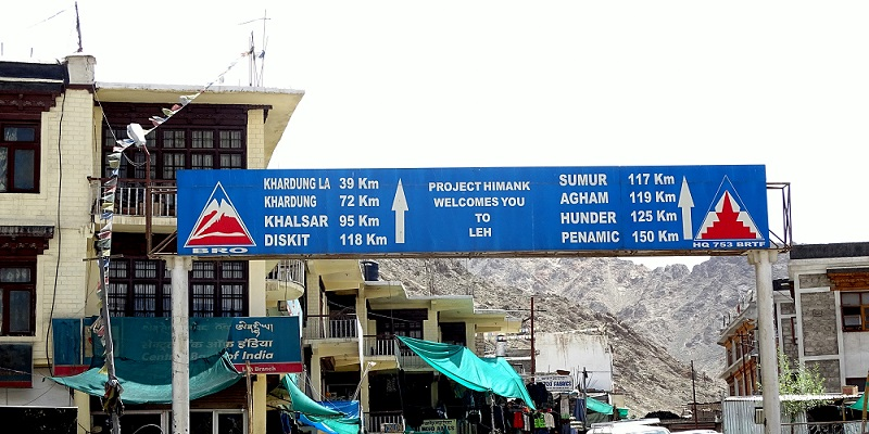 Signboard in Leh City Mentioning Khardung La Pass. The Pass is 40Km from Leh City.