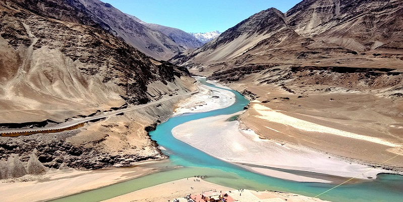 Confluence of Indus River and Zanskar River In Nimmu, Near Leh City