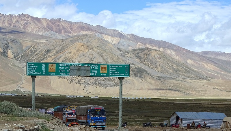 Signboard at Sarchu on Leh-Manali Highway. Sarchu lies on border of Jammu & Kashmir and Himachal Pradesh
