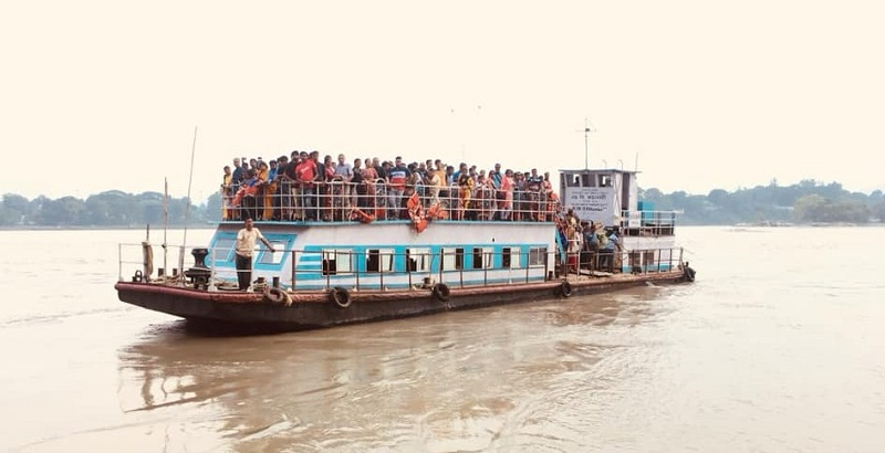 Ferries Are The Common Way of Crossing Brahmaputra River In Assam