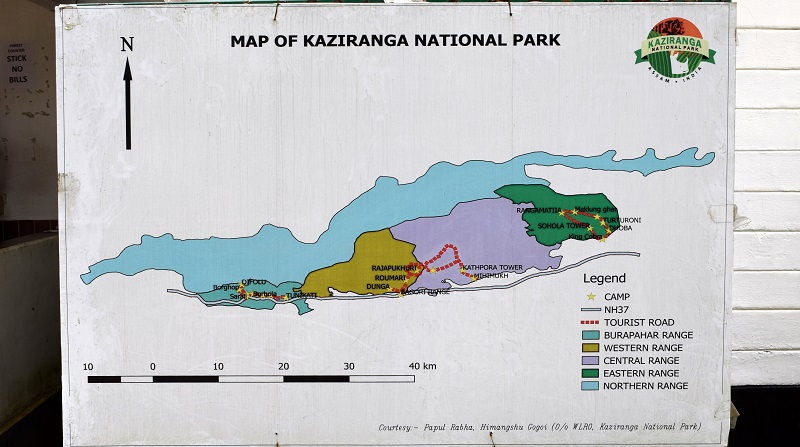 Map of Kaziranga National Park Showing All the Five Ranges