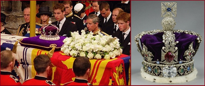 The Koh-i-Noor diamond at the time of funeral of Queen Elizabeth. Right: The Diamond in British Crown.
