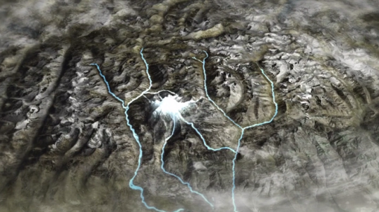 Graphical Representation of Mount Kailash and four Rivers origination alongside.